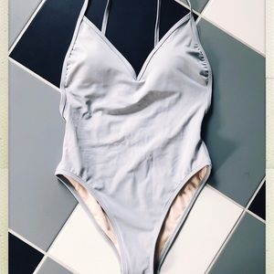 LA Hearts Silver One Piece Swimsuit NWT